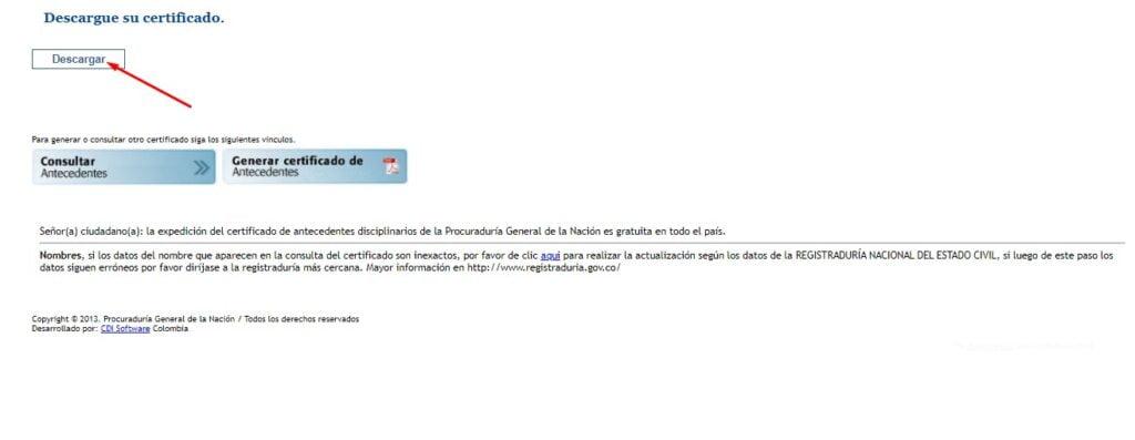 descargar certificado procuraduría