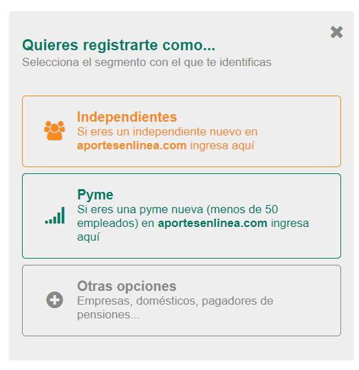 Registrarse como independiente